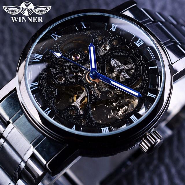 T-WINNER 高級メンズ腕時計 手巻き式 機械式 スケルトン ステンレスバンド スチームパンク レトロクラシック