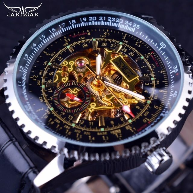JARAGAR メンズ腕時計 自動巻き 機械式腕時計 キャリブレーションダイヤル レザーストラップ ラグジュアリーウォッチ