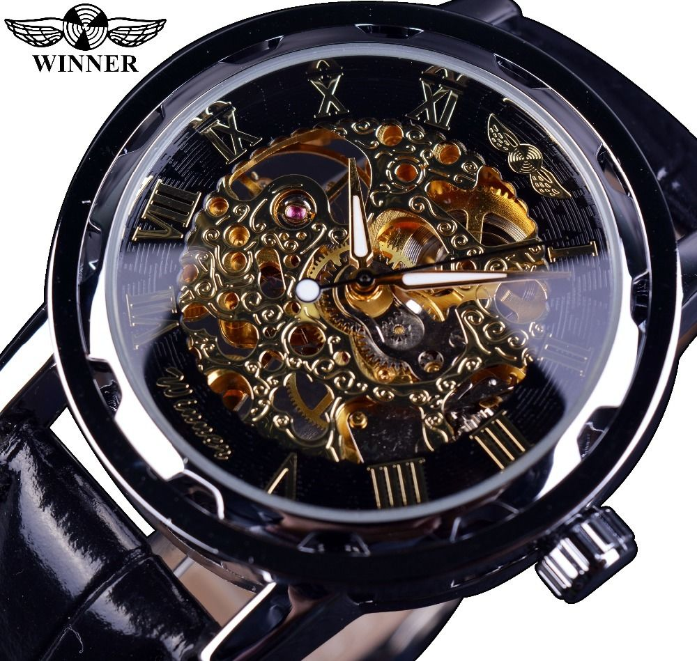 T-WINNER メンズ腕時計 手巻き式 機械式 スケルトン アンティーク調 レトロクラシック ブラックレザーストラップ ヨーロッパ人気モデル 日本未発売