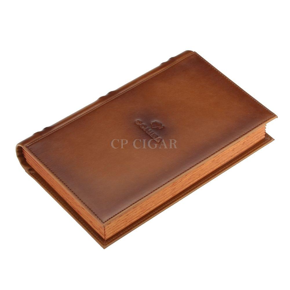 高級 ブック型 ポータブルヒュミドール 葉巻 湿度計 加湿器 レザー革製 ウッド木製 ラグジュアリー シンプル コンパクト おしゃれ ブラウン