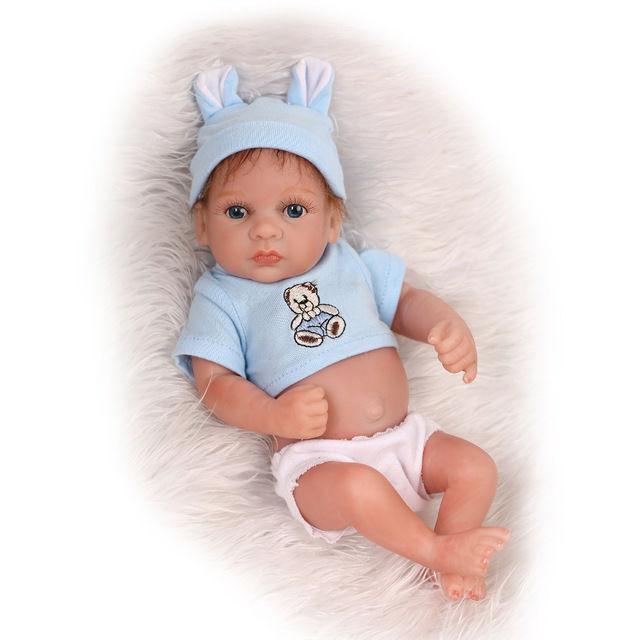 リボーンドール フルシリコンビニール リアル赤ちゃん人形 ミニサイズ25cm 入浴可能 かわいいベビー人形 未熟児サイズ 男の子 ブルーアイ