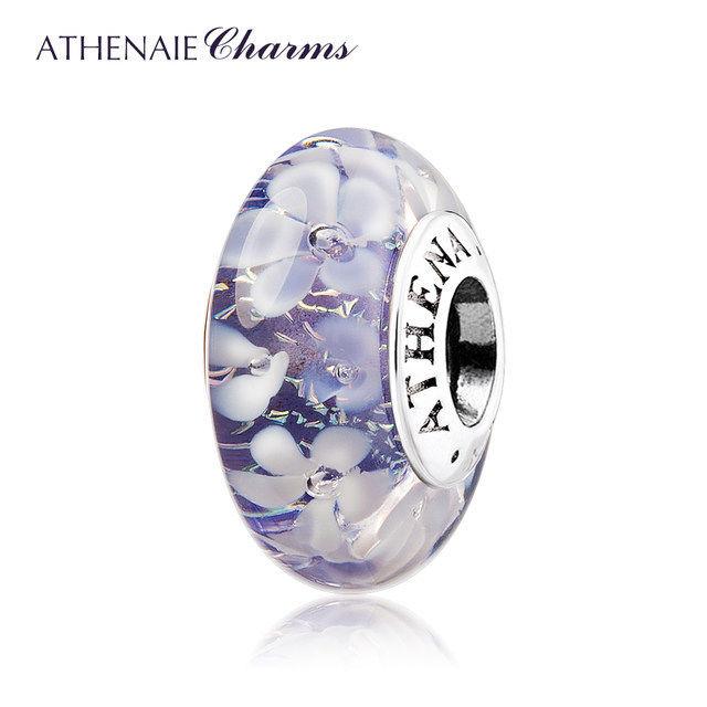 ATHENAIE パンドラ適合 ビーズチャーム シルバー925 ムラーノガラス Murano 925Silver Charm Bead Fit Pandora パープル 花の庭