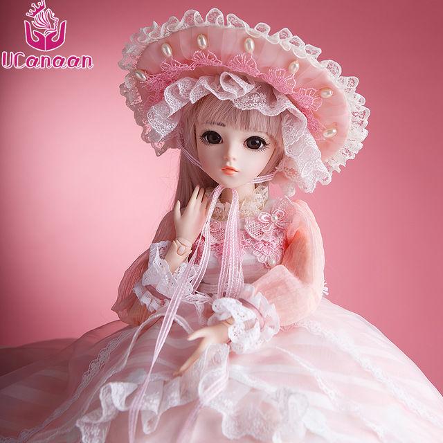 球体関節人形 BJD 衣装付き お姫様 お嬢様 女の子 フルビニール60cm 帽子ロングヘア 上品 気品 フランス人形/西洋人形/SD ピンクドレス新品