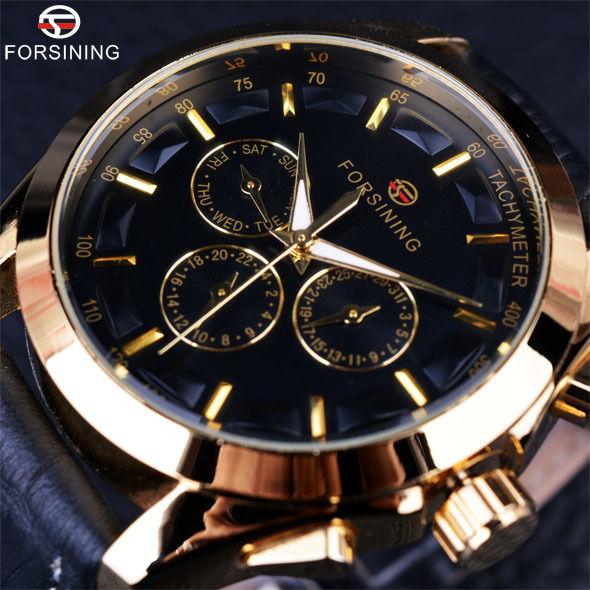 Forsining メンズ腕時計 自動巻き 機械式腕時計 クラシカル 3ダイヤルカレンダー レザーストラップ ラグジュアリー ビジネスウォッチ