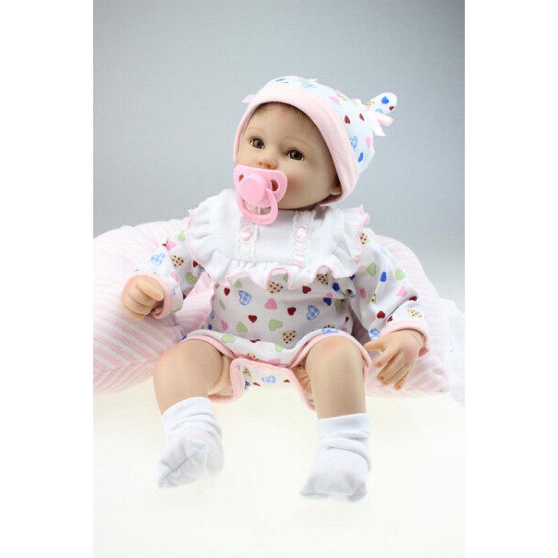 リボーンドール リアル赤ちゃん人形 小さめ40cm かわいいベビー人形 ハンドメイド海外ドール 衣装とおしゃぶり・哺乳瓶付き ブラウンアイ 柔らかそうなパジャマの女の子