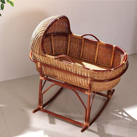 かわいいベビーベッド ラタン 木製 クーファン クーハン ゆりかご バスケット  リボーンドール  お人形のベッドに