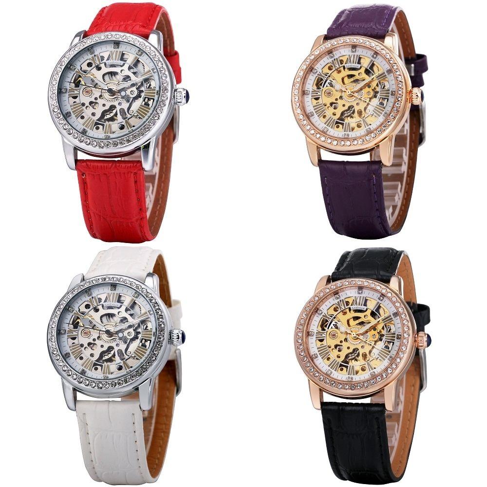 T-WINNER レディース腕時計 機械式 自動巻き スケルトン ラインストーンベゼル レトロクラシック 高級モデル 日本未発売