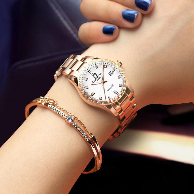 CARNIVAL 高級レディース腕時計 自動巻き 機械式腕時計 ラインストーンベゼル ローズゴールド ラグジュアリー エレガントビジネスウォッチ