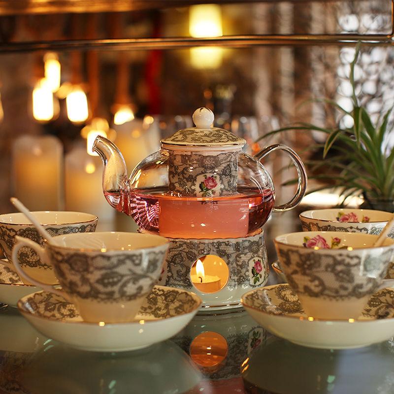 高級 ティーカップセット コーヒーカップセット カップ&ソーサー4セット ティーポット スプーン バーナースタンド付き 陶器 花柄 ゴージャス 姫系 / エルメス ウェッジウッド お好きな方にも