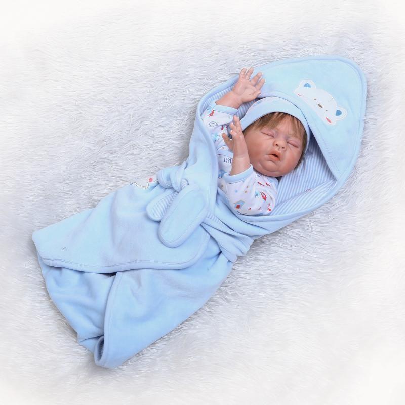 リボーンドール リアル赤ちゃん人形 フルシリコンビニール 男の子 入浴可能  かわいいベビー人形お世話セット ハンドメイド お口を開けておねんね
