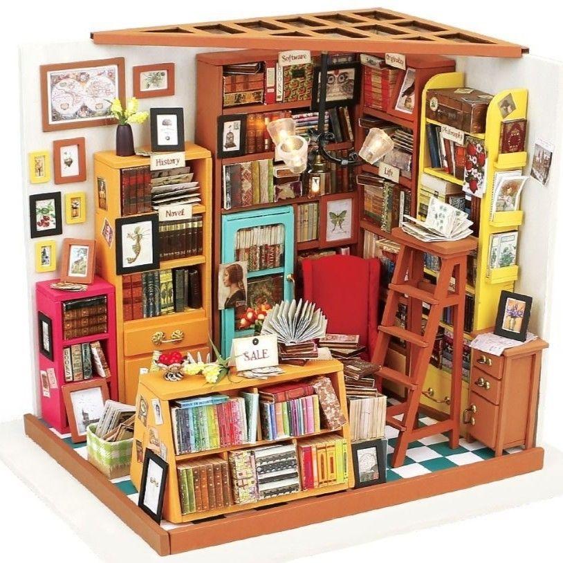 ドールハウス 1/12 ハンドメイド木製ミニチュアハウス家具セット DIY 3Dパズル 知育玩具 本屋 書斎 ブックストア Sam Study Room