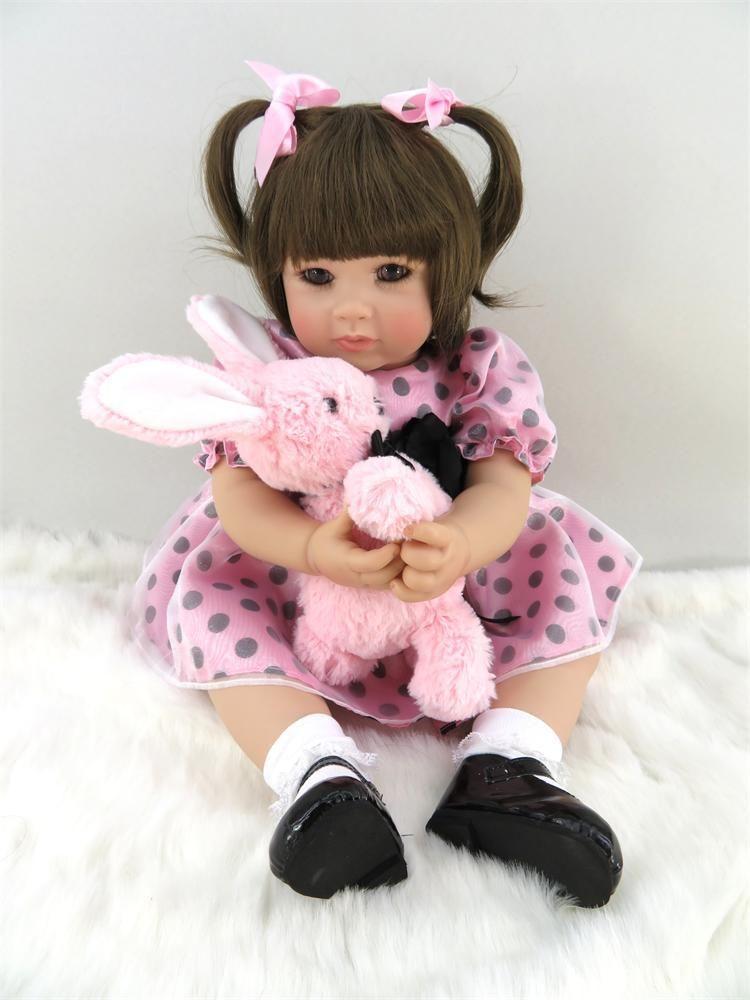 トドラー人形 プリンセスドール リボーンドール 抱き人形 高級ハンドメイド海外ドール かわいい幼児ちゃん人形 衣装付き 二つ結び ブラウンヘア 女の子 ピンクのワンピースお嬢様