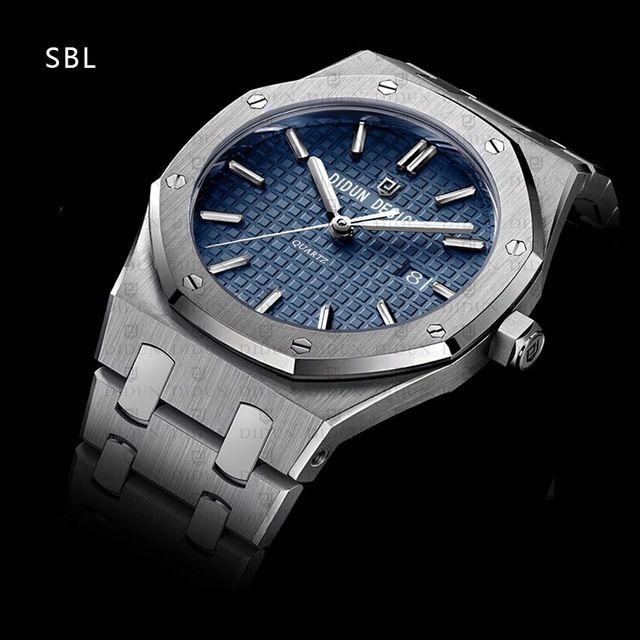 DIDUN DESIGN メンズ腕時計 クオーツ ステンレスバンド  アナログ3針 防水サファイアガラス  SV 海外人気ブランド 日本未発売モデル