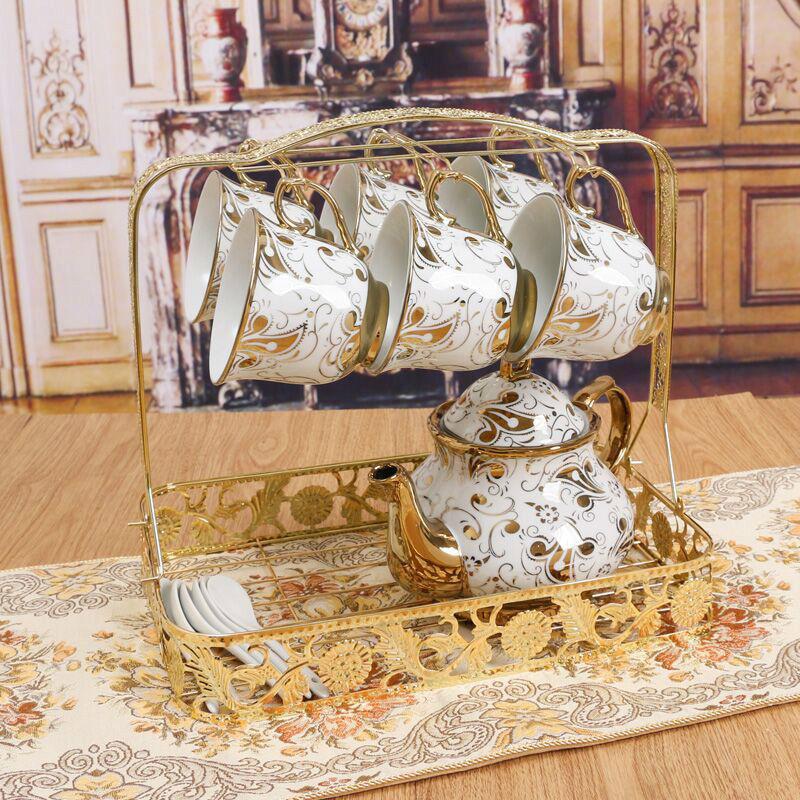 高級 ティーカップセット コーヒーカップセット カップ&ソーサー6客セット ティーポット スプーン スタンド付き 陶器 花柄 ゴージャス 姫系 / エルメス ウェッジウッド お好きな方にも