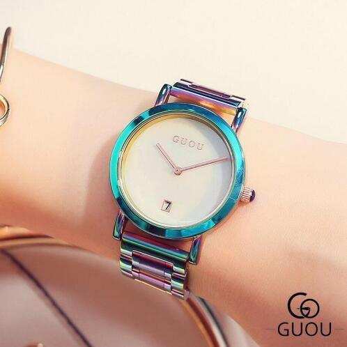 GUOU レディース腕時計 カラフルステンレス ファッションウォッチ 海外人気モデル 日本未発売