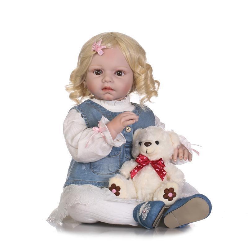 トドラー人形 プリンセスドール リボーンドール 抱き人形 約70cm 海外製ハンドメイド かわいい幼児ちゃん 衣装付き 金髪ボブヘア ブラウンアイ 女の子