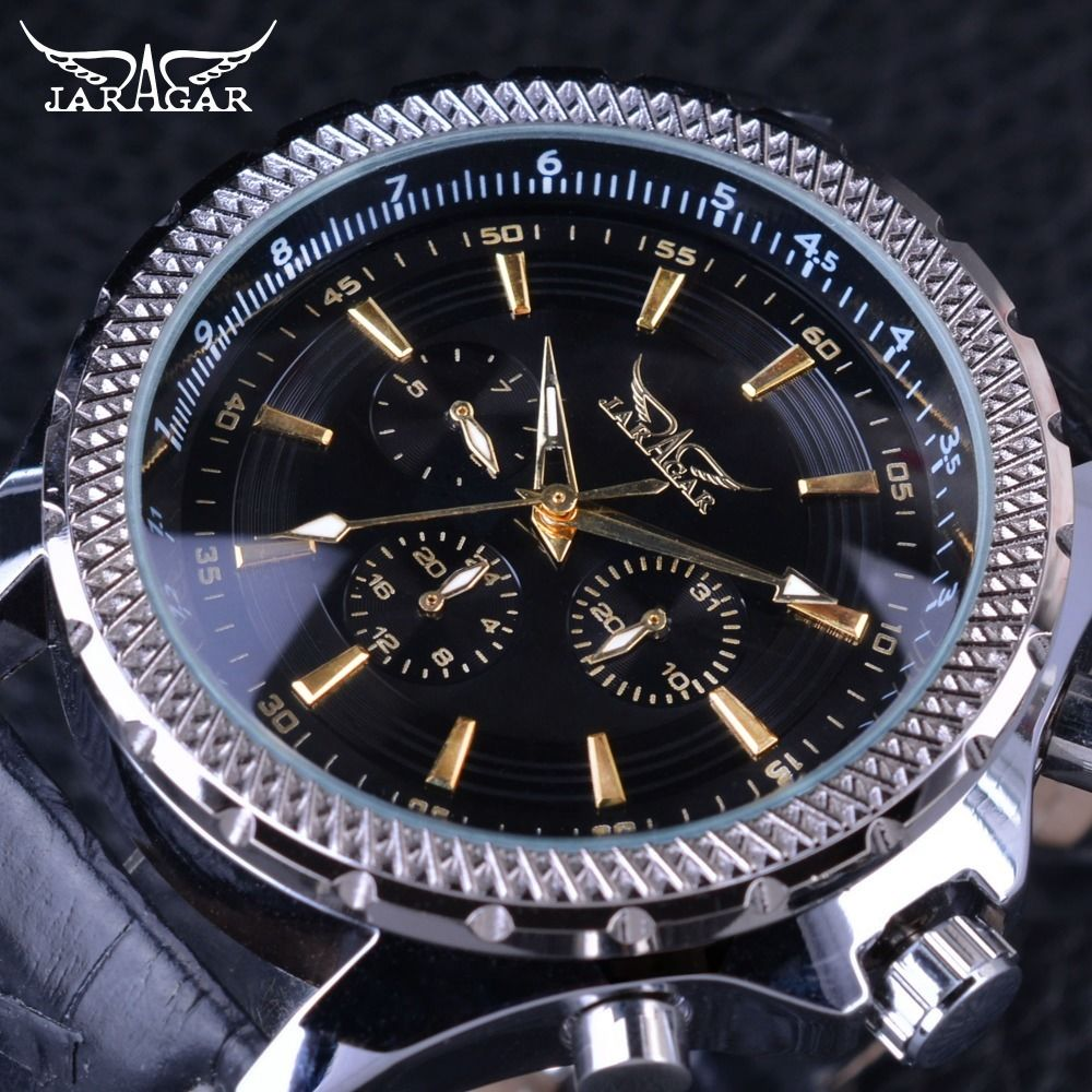 JARAGAR メンズ腕時計 自動巻き 機械式腕時計 3ダイヤル 6針アドバンスト レザーストラップ ラグジュアリーウォッチ