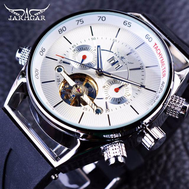 JARAGAR メンズ腕時計 自動巻き 機械式腕時計 シャークライン トゥールビヨン ラバーストラップ ラグジュアリーウォッチ