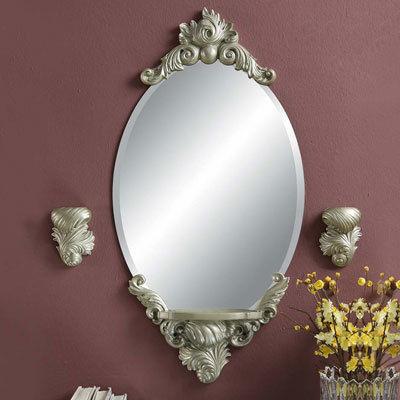 大型ウォールミラー 姫系ヨーロピアンデザイン 浴室 寝室 ドレッサー 鏡 ホワイト アンティーク風 ゴージャス ロココ 壁掛け
