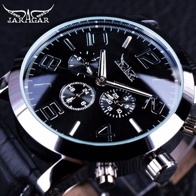 JARAGAR メンズ腕時計 自動巻き 機械式腕時計 3ダイヤルカレンダー ステンレス レザーストラップ ラグジュアリーウォッチ