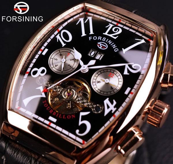 Forsiningメンズ腕時計 自動巻き 機械式腕時計 トノー トゥールビヨン スケルトン レザーストラップ レトロクラシック ビジネスウォッチ