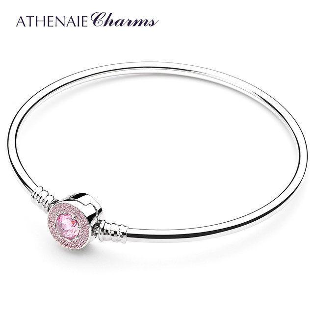 ATHENAIE パンドラ適合 ブレスレット バングルタイプ シルバー925 ピンククリスタル 925 Silver CZ Paved Bracelet Fit Pandora
