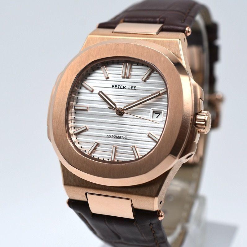 PETER LEE 自動巻き 機械式腕時計 メンズ レディース レザーストラップ ローズゴールド [パテックフィリップ ノーチラスに似ている腕時計]