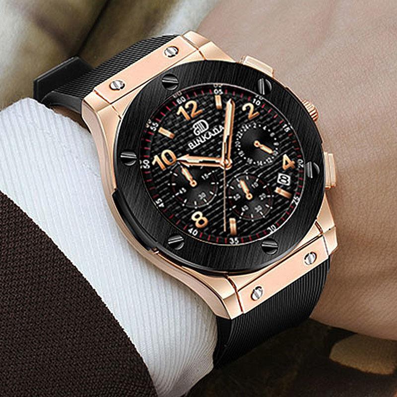 メンズ腕時計 BINKADA クォーツ腕時計 クロノグラフ ラバーバンド ビッグバンエボリューションタイプ HUBLOT風