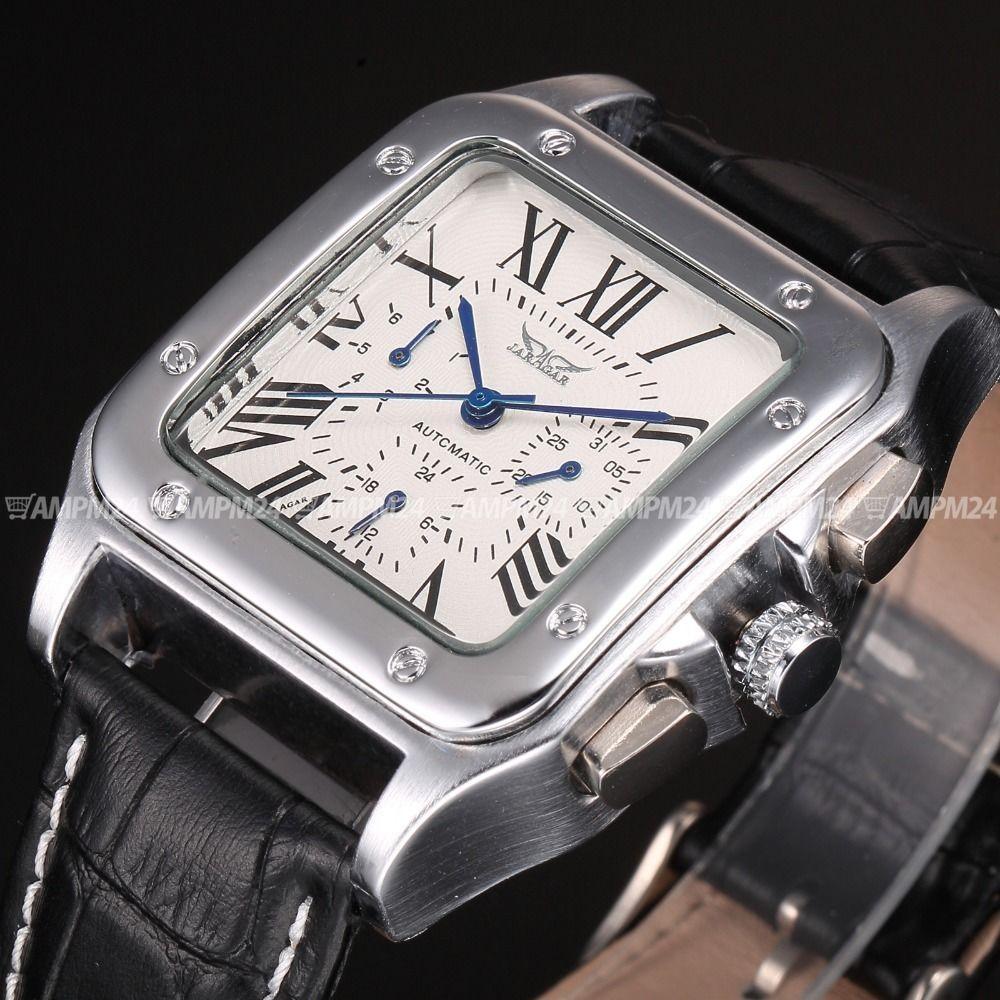 JARAGAR メンズ腕時計 自動巻き 機械式腕時計 スクエア レザーストラップ ラグジュアリーウォッチ