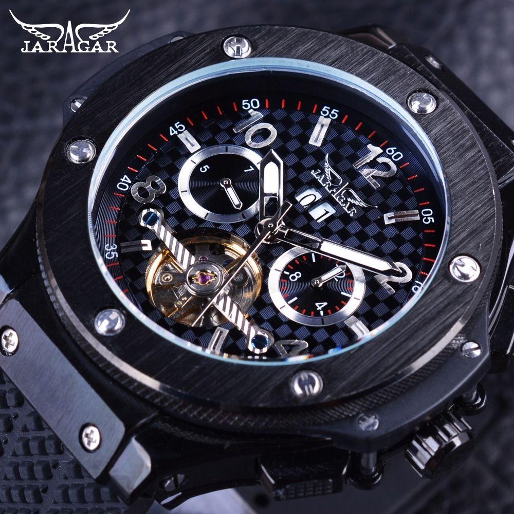 JARAGAR メンズ腕時計 自動巻き 機械式腕時計 レーシング トゥールビヨン ラバーストラップ ラグジュアリーウォッチ