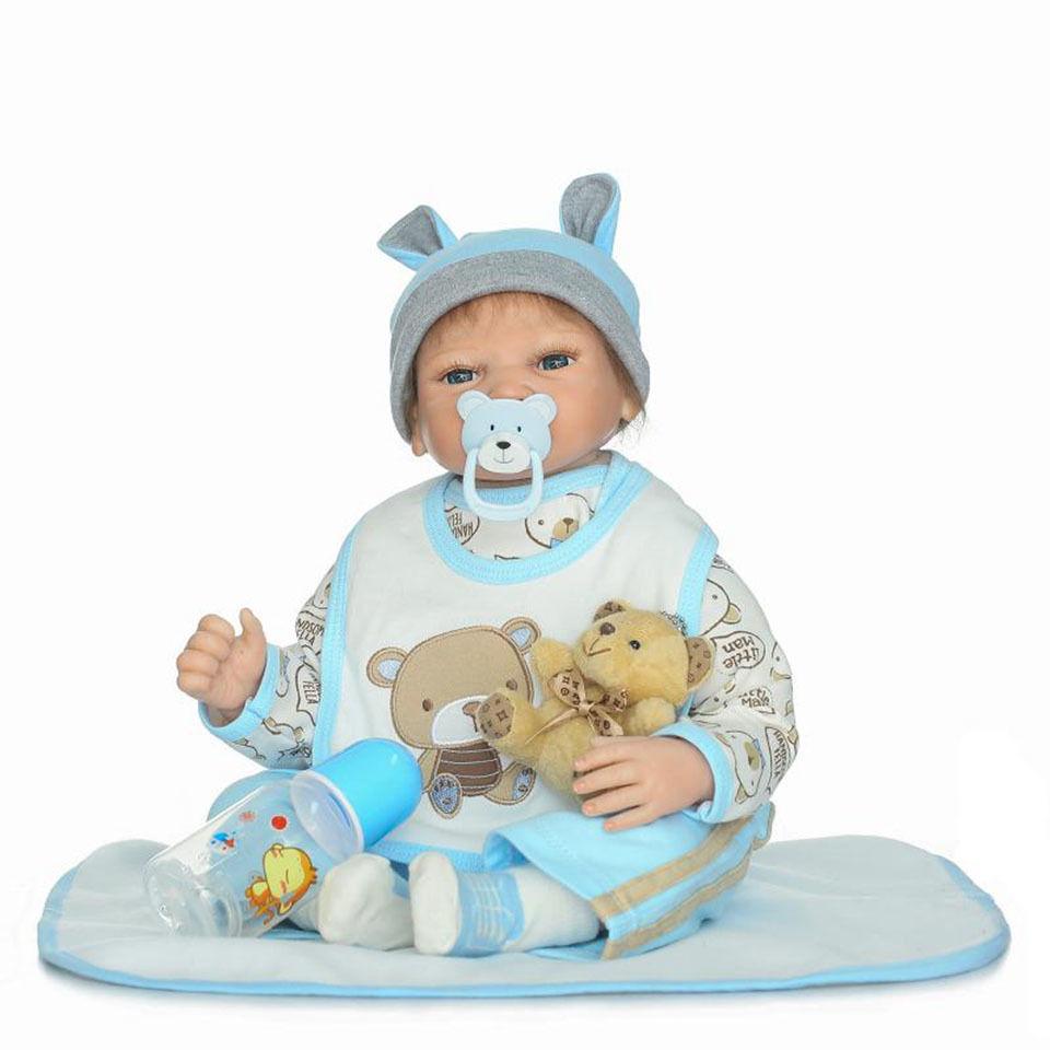 リボーンドール リアル赤ちゃん人形 本物そっくり かわいいベビー人形 ハンドメイド海外ドール 衣装と哺乳瓶・おしゃぶり付き ブラウンorブルーアイ 大きなお目目の新生児ちゃん 男の子