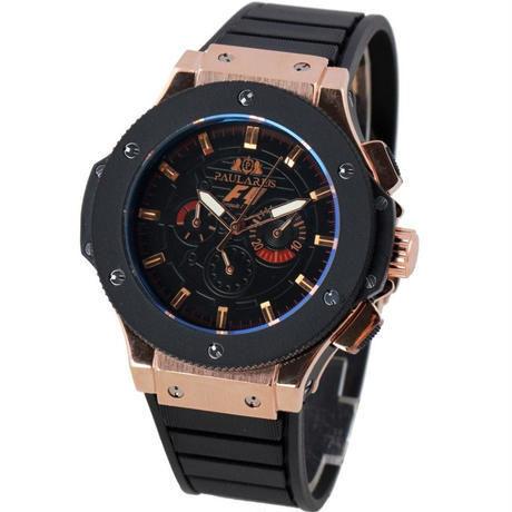 PAULAREIS 自動巻き 機械式腕時計 ラバーストラップ 3気圧防水 48mm カラバリ3色 F1