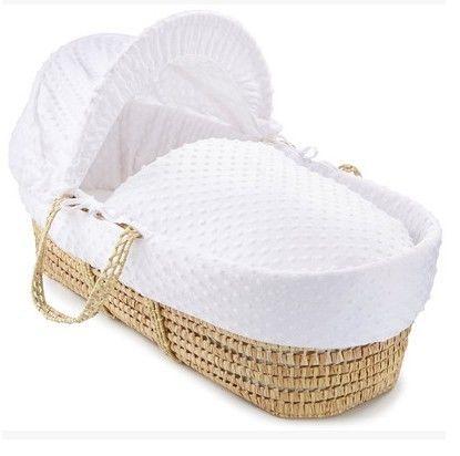 かわいいベビーベッド ベビークーファン ホワイト サンシェードつき クーハン バスケット かご 高級タイプ 上品なホワイト / リボーンドール お人形のベッドに