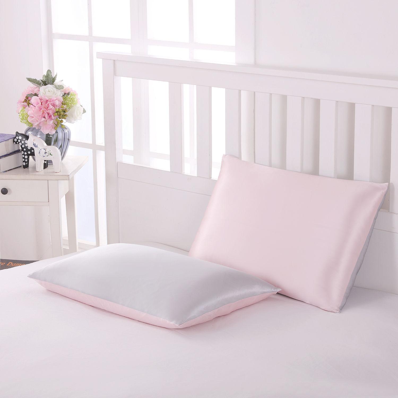 両面シルク枕カバー シルバーグレー×ピンク