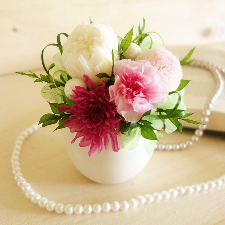 "memorial flower ""Temari pink"" (プリザーブドフラワーの仏花)"