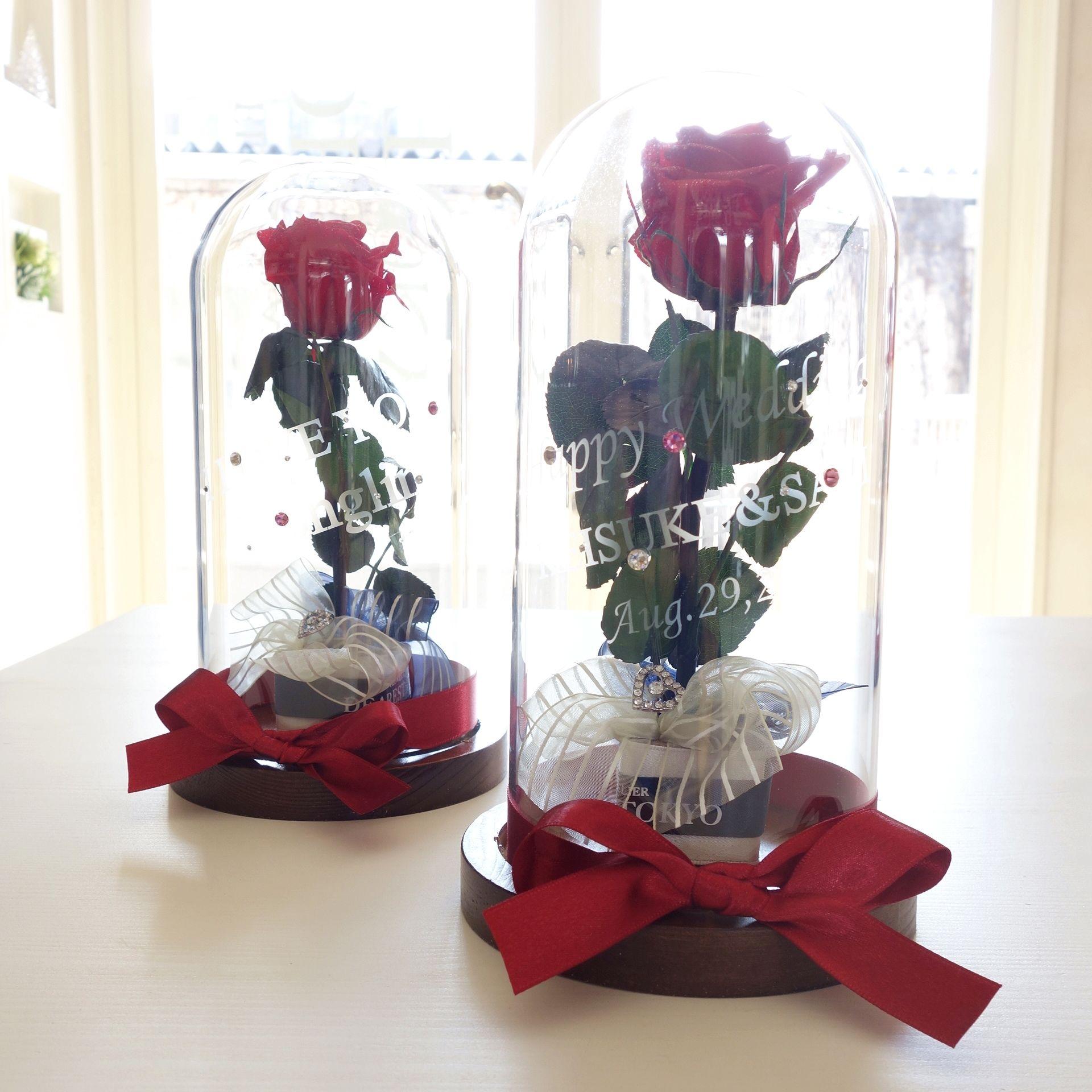 """《名入れギフト☆メッセージ刻印》message ROSE """"Rose rouge  """" 美女と野獣?バラを閉じ込めたガラスドーム"""