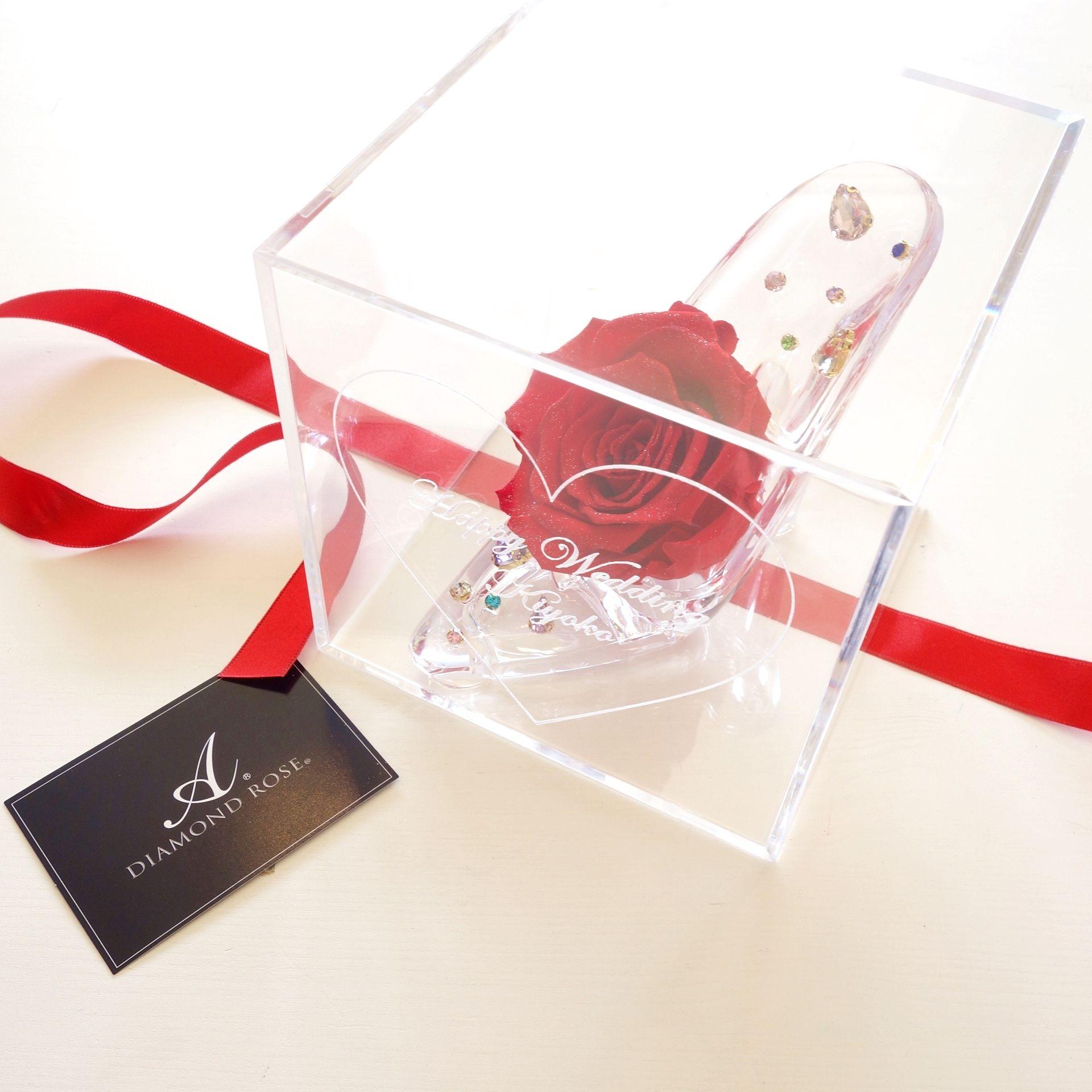"""《受注制作》message ROSE """"DIAMOND ROSE""""(RED) ☆名入れギフト☆ビジューがきらめくガラスの靴"""