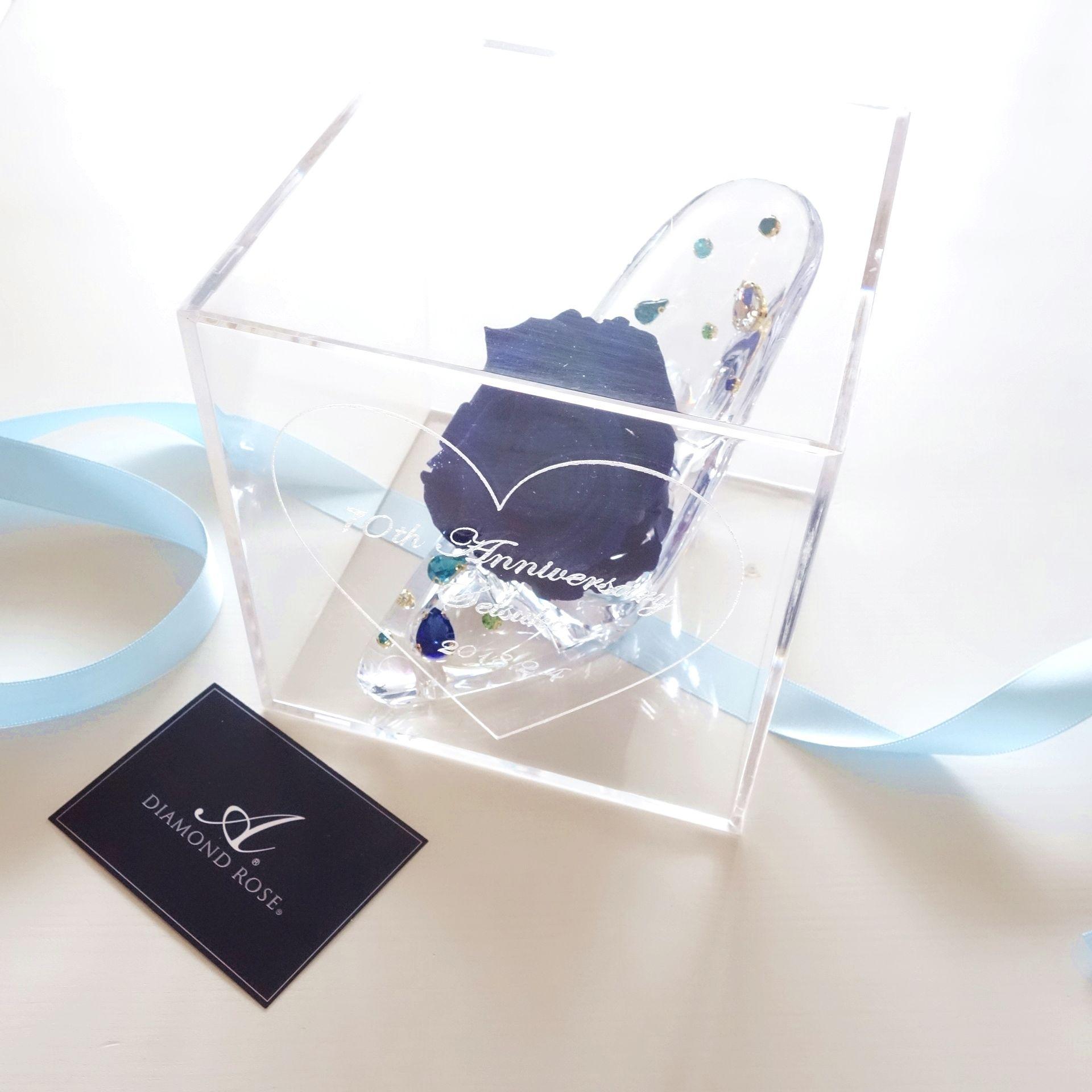 """《受注制作》message ROSE """"DIAMOND ROSE""""(BLUE) ☆名入れギフト☆ビジューがきらめくガラスの靴"""