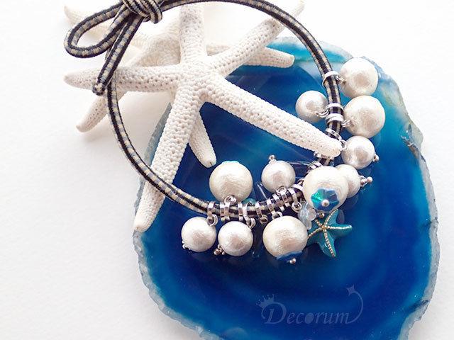 青いヒトデのヘアアクセサリー