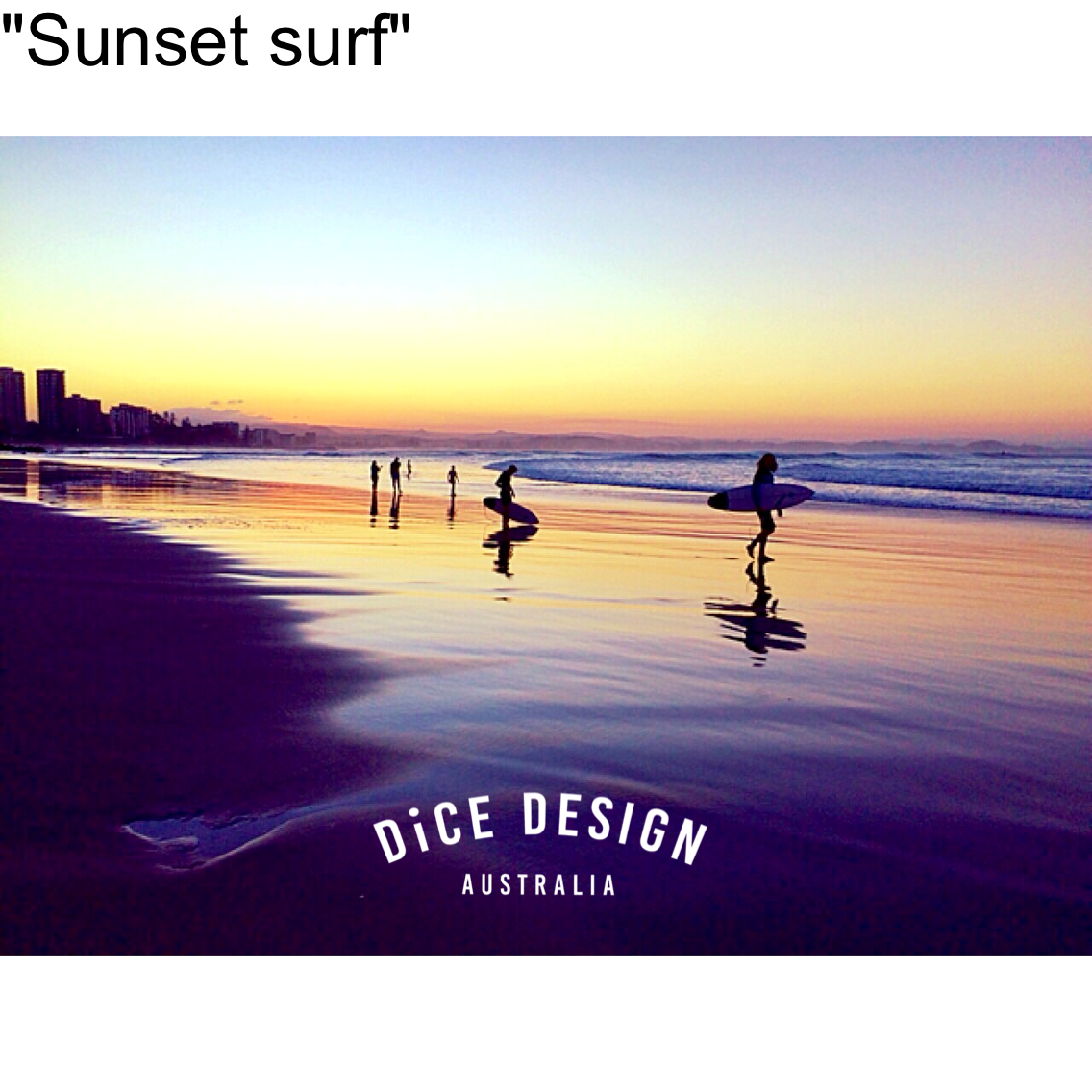 "フォトブロック (A5) ""Sunset surf"" Wood printing"