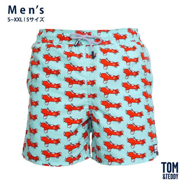 エアプレーン・ブルー&オレンジ【メンズ | S~XXL | 全5サイズ】【Tom & Teddy? Australian Swimwear】