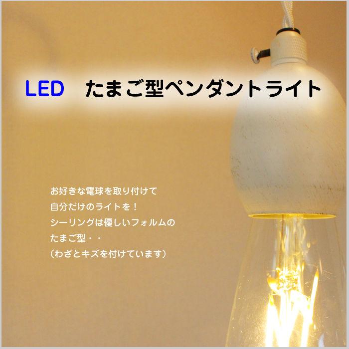 【たまご型 ペンダントライト】 ≪ホワイト≫ 白 エジソン型LED電球付き JR