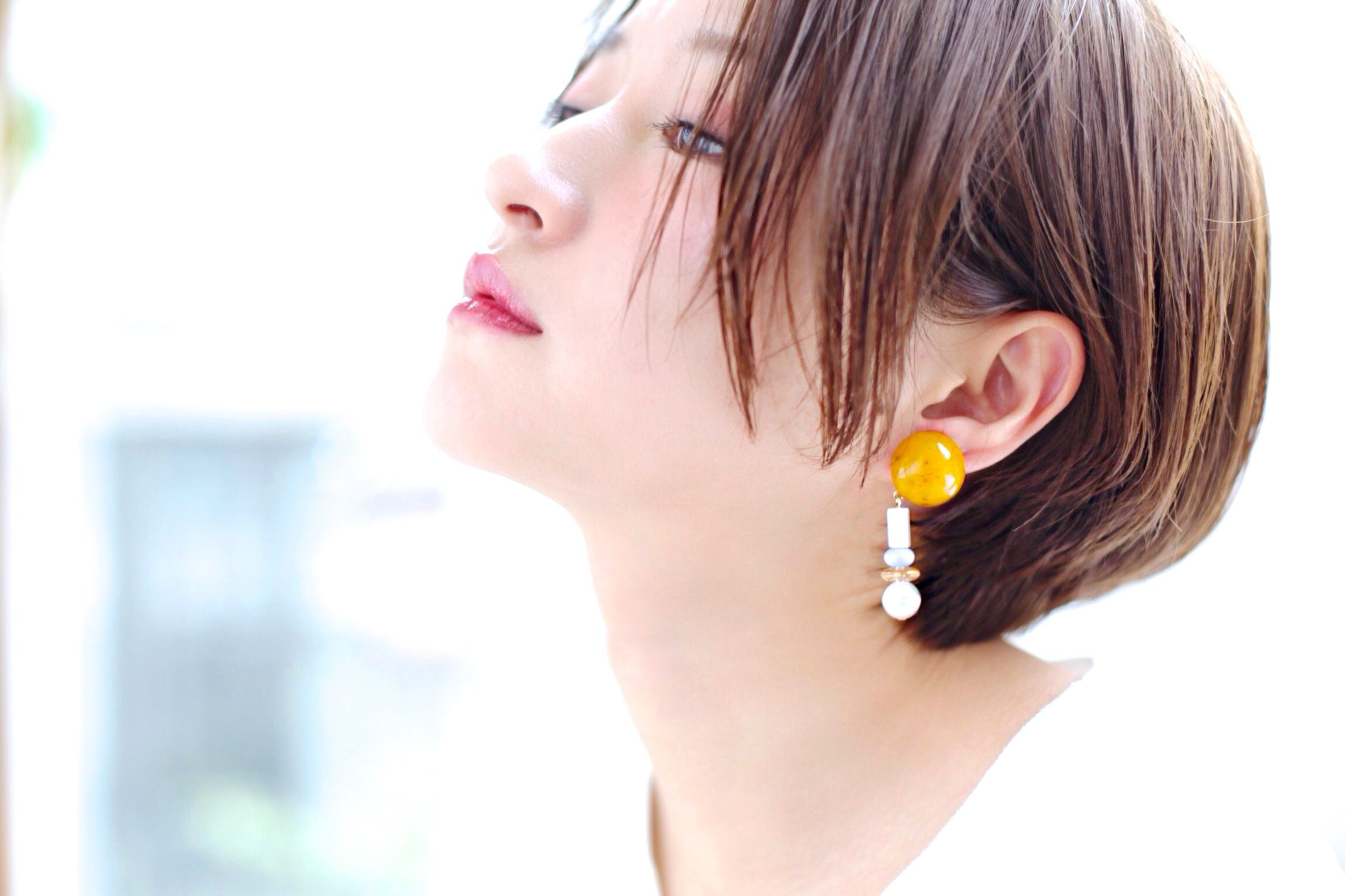 Big  silhouette pierce/earring YELLOW