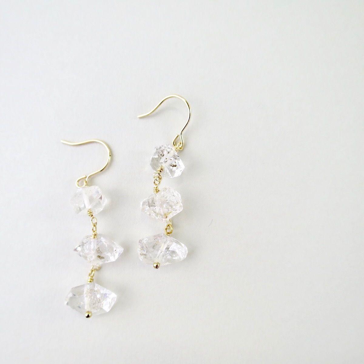 Herkimer diamond  3 Grains Hook Pireced earrings【14kgf】