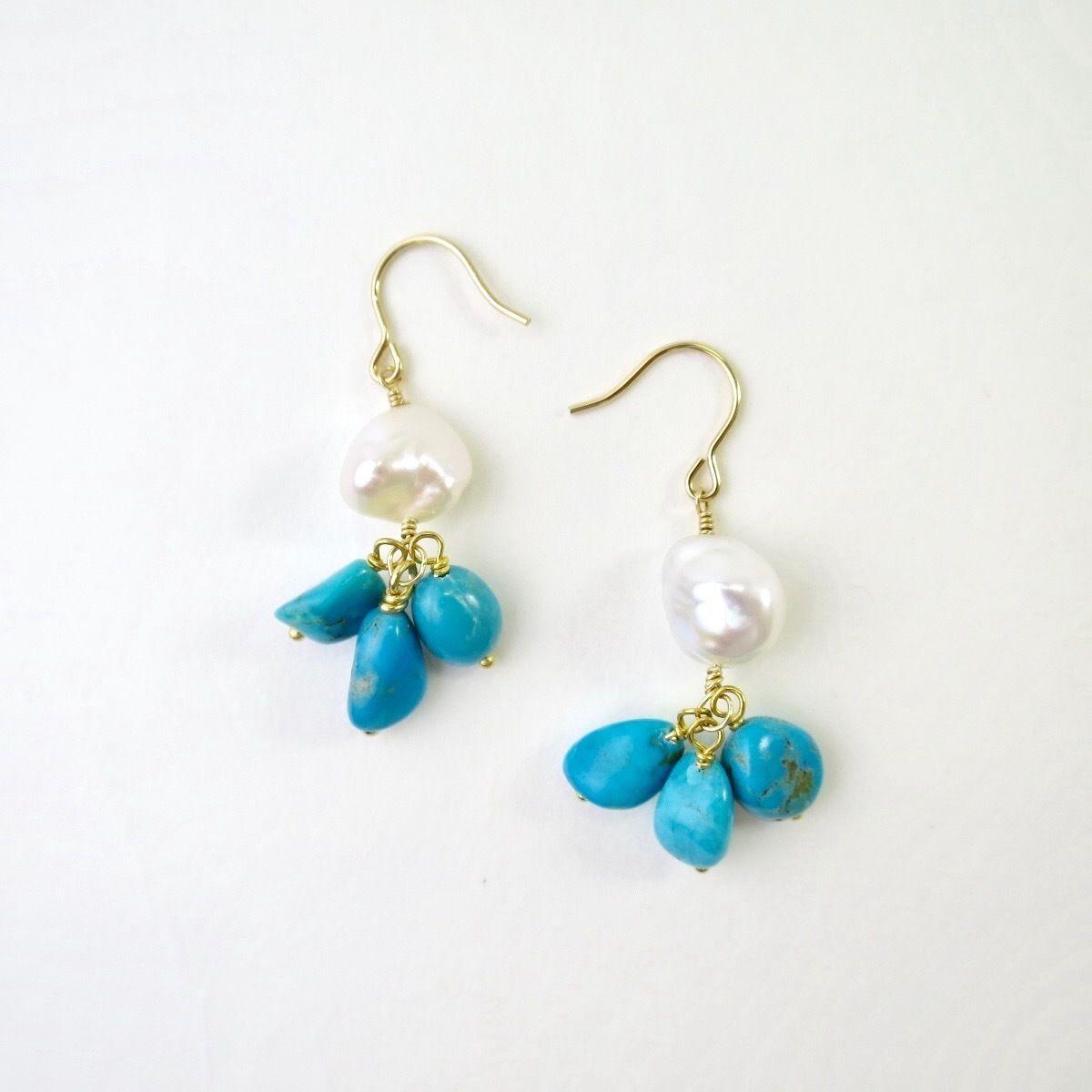 Freshwater pearl×Turquoise Pierced earrings【14kgf】