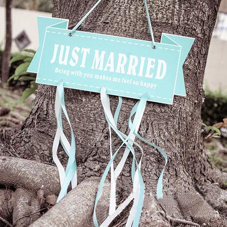 結婚式 ガーランド ウエディング JUST MARRIED  プレート 結婚式 小物 アイテム  ウエディングフォト ステッカー ティファニーブルー