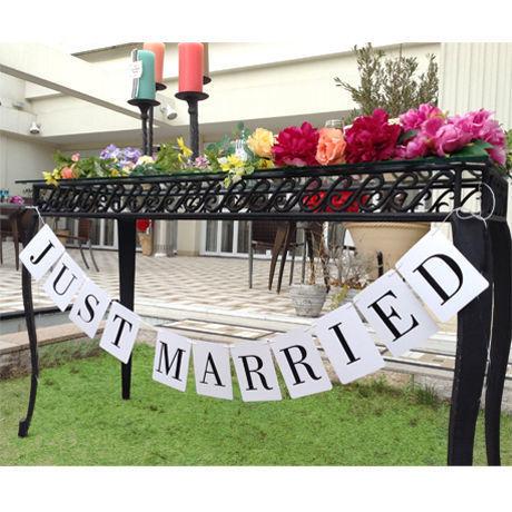 結婚式 ガーランド ウエディング JUST MARRIED  ウエディング グッズ 結婚式 小物 アイテム  ウエディングフォト ステッカー バナー prt2