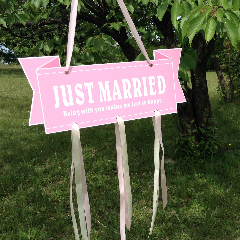 結婚式 ガーランド ウエディング JUST MARRIED  プレート 結婚式 小物 アイテム  ウエディングフォト ステッカー ピンク