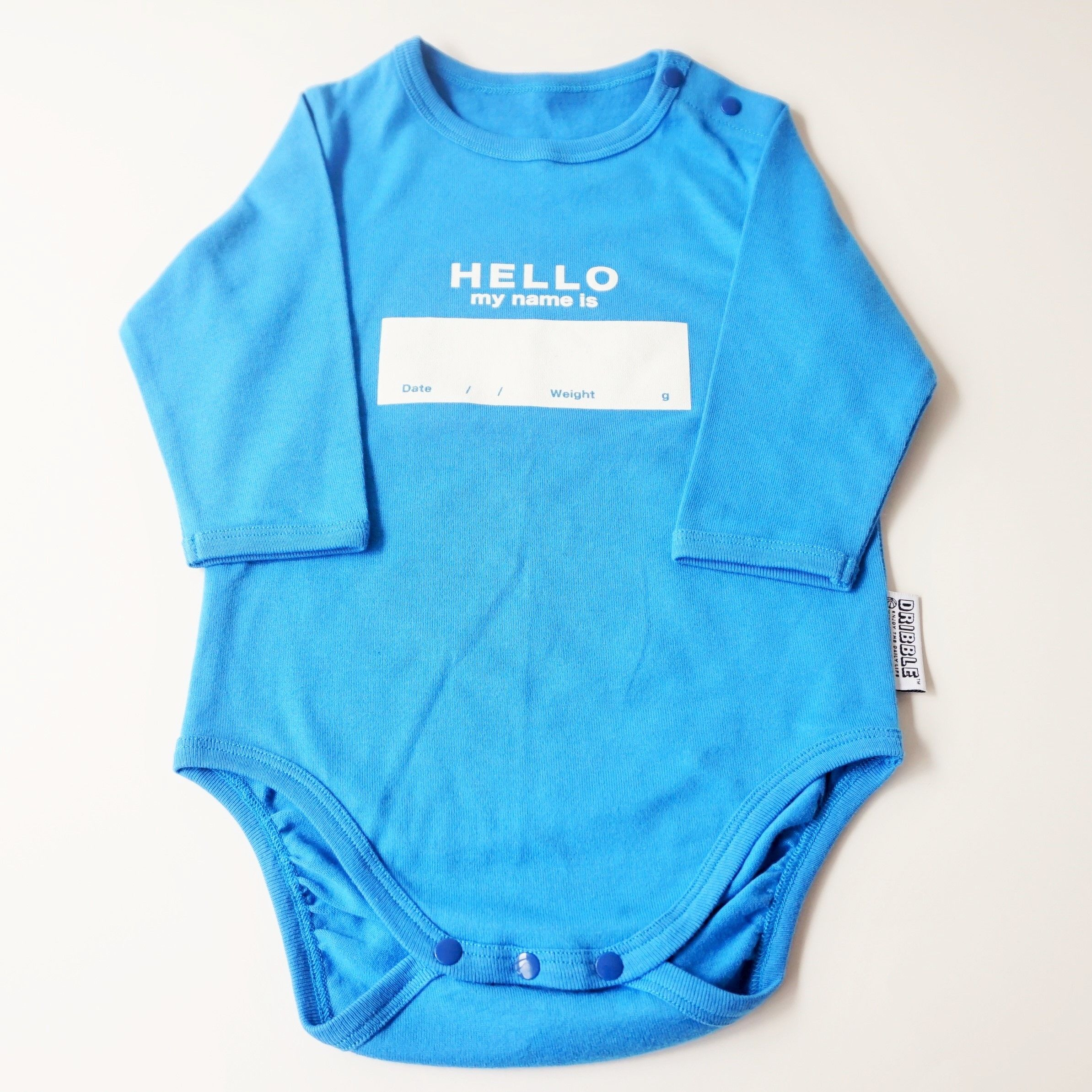 """DRIBBLE """"HELLO MY NAME IS"""" ロングスリーブロンパース  / BLUE"""