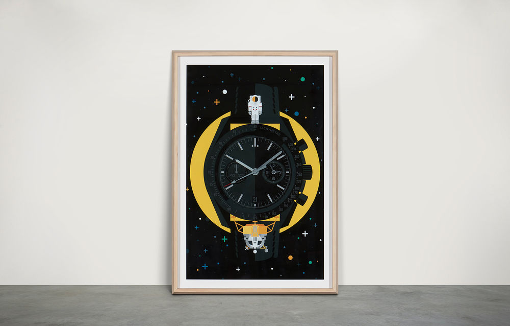 """Dark Side of the Moon""  Wall Watch [ inspired by OMEGA Speedmaster ]"